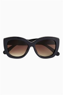 Navy/Rose Gold Bee Detail Chunky Frame Sunglasses