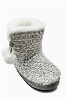 Grey Knitted Slipper Boots (Older Girls)