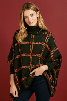 Khaki/Orange Oversized Check Poncho