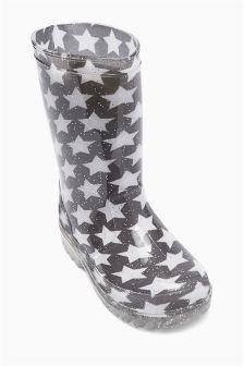 Grey Glitter Star Wellington Boots (Older Girls)