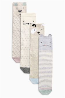 Stone Textured Animal Socks Four Pack