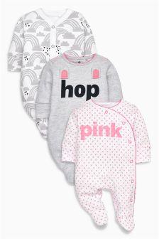 Pink/Grey Slogan Bunny Sleepsuit Three Pack (0mths-2yrs)