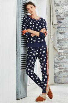 Navy/White Fleece Star Print Pyjamas
