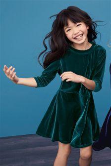 Green Velvet Shift Dress (3-16yrs)