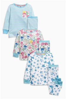 Blue Floral Snuggle Pyjamas Three Pack (9mths-8yrs)