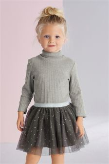 Grey Roll Neck Two Part Dress (3mths-6yrs)