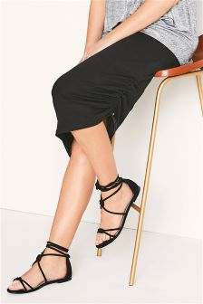 Black Maternity Ruched Side Skirt