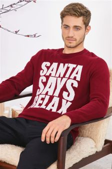 Red Santa Says Relax Christmas Jumper