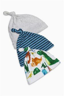 Bright Dino Tie Top Hats Three Pack (0-18mths)