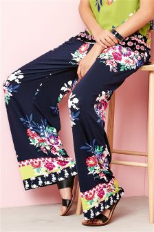 Multi Floral Wide Leg Trousers