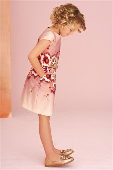 Pink Floral Print Shift Dress (3-14yrs)
