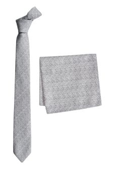 Patterned Tie And Pocket Square