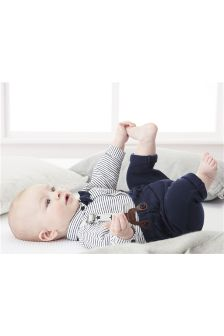 Navy Trousers, Shirt And Braces Set (0mths-2yrs)