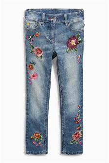 Denim Mid Blue Embellished Floral Jeans (3-16yrs)