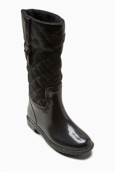 Black Quilted Wellington Boots (Older Girls)