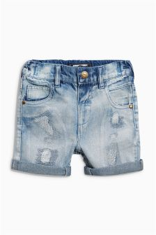 Light Wash Five Pocket Denim Distressed Shorts (3mths-6yrs)