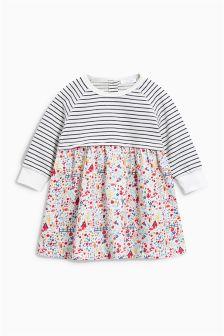 Ecru Stripe And Print Mix Dress (0mths-2yrs)
