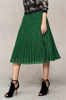 Green Sparkle Pleated Skirt