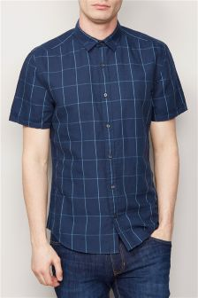 Navy Window Pane Short Sleeve Linen Blend Shirt