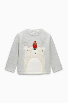 Grey Polar Bear Christmas Jumper (3mths-6yrs)