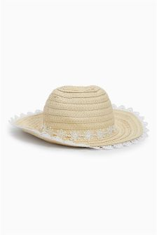 Natural Broderie Edge Floppy Hat (Younger Girls)