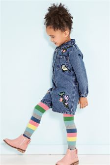 Denim Embellished Playsuit (3mths-6yrs)