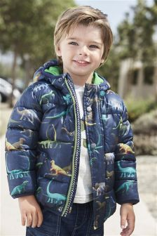 Navy Dino Print Padded Jacket (3mths-6yrs)