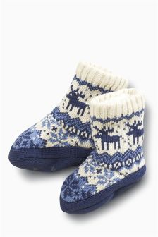 Blue/Ecru Fairisle Boot Socks (Younger Boys)