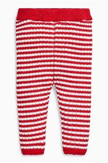 Red/Ecru Knitted Leggings (0mths-2yrs)