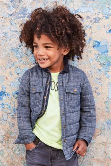 Denim Quilted Shacket With Cord Collar (3mths-6yrs)