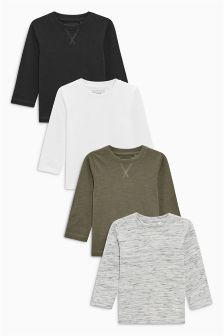 Black/White/Khaki/Grey Long Sleeve T-Shirts Four Pack (3mths-6yrs)