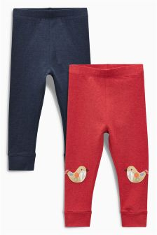 Rust Character Embellished Leggings Two Pack (3mths-6yrs)