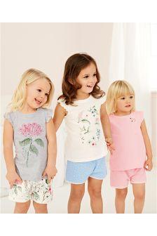 Pink/Grey Flower Short Pyjamas Three Pack (9mths-8yrs)