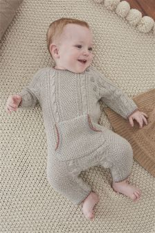 Grey Knitted Romper (0mths-2yrs)