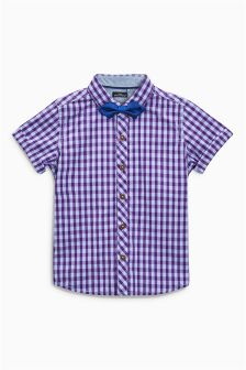 Purple Gingham Shirt With Bow Tie (3mths-6yrs)