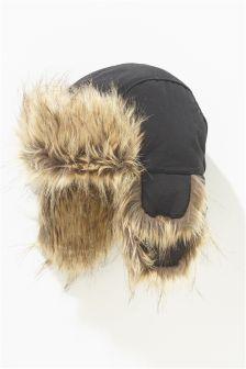 Black Faux Fur Trapper (Older Boys)