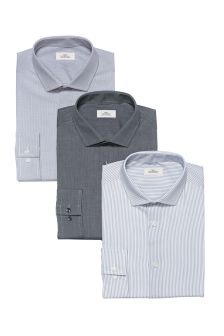Grey Checked, Striped And Plain Slim Fit Shirts Three Pack