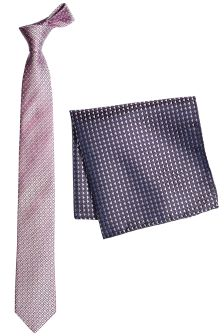 Pink Silk Tie With Pocket Square