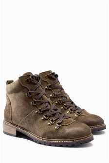 Leather Lace Up Hiker Ankle Boots