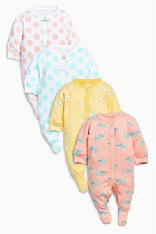 Peach Cat Spot Sleepsuits Four Pack (0mths-2yrs)