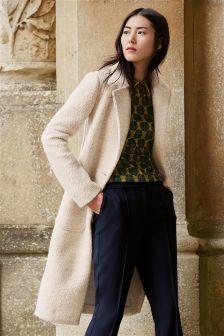 Cream Knit Look Coat