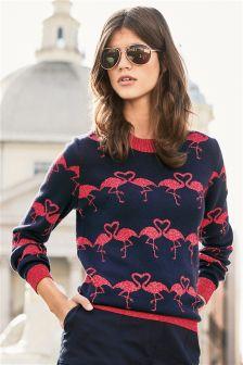 Navy Flamingo Sweater