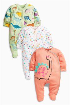 Bright Dinosaur Sleepsuits Three Pack (0mths-2yrs)