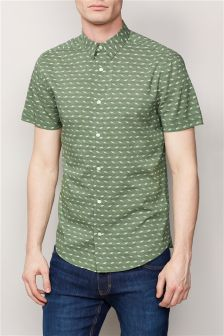 Green Short Sleeve Wave Print Shirt