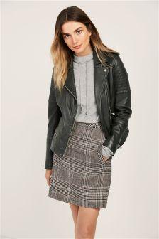 Black/White Brushed Check Mini Skirt