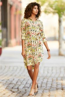 Ecru Floral Shirt Dress