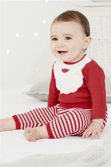 Langärmliger Body mit Weihnachtsmannbart-Motiv, rot (0 Monate bis 2 Jahre)
