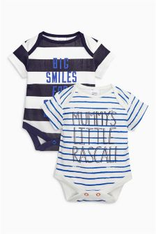 Blue Stripe Mummy And Daddy Short Sleeve Bodysuits Two Pack (0mths-2yrs)