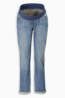 Mid Wash Maternity Relaxed Fit Under The Bump Jeans