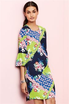 Multi Splice Print Flute Sleeve Dress